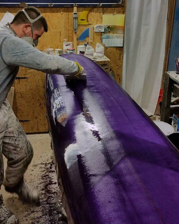 glassin surfboard longboard purple