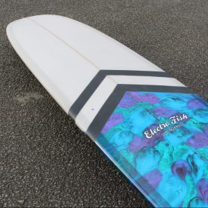 Resin art and chevron stripes longboard