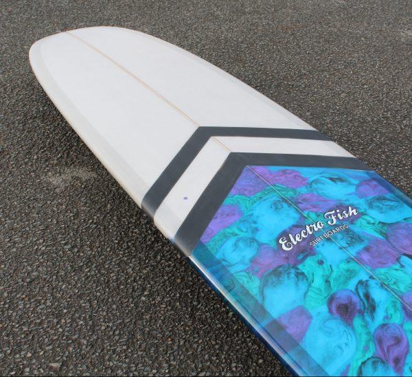 Resin art and chevron stripes longboard